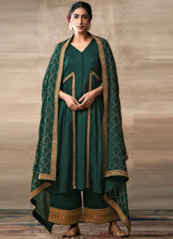 Partywear Designer Embroidery Green Heavy Chinon Salwar Suit