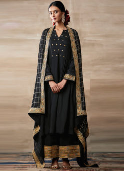 Partywear Designer Embroidery Black Heavy Chinon Salwar Suit