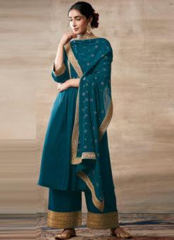 Partywear Designer Embroidery Rama Heavy Chinon Salwar Suit