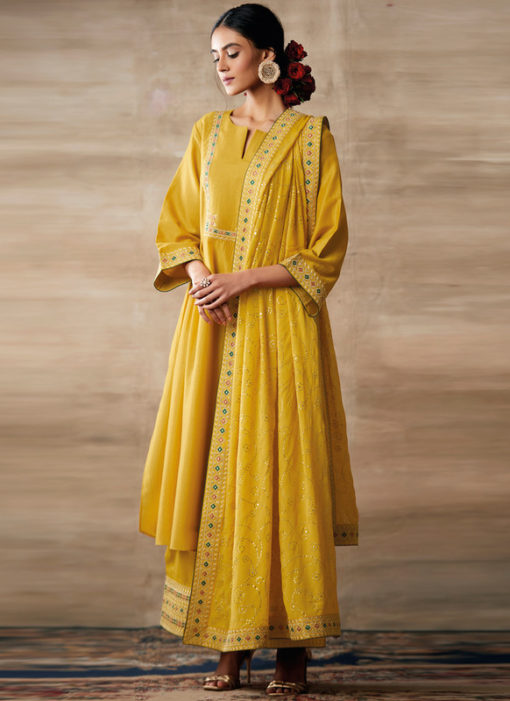 Partywear Designer Embroidery Yellow Heavy Chinon Salwar Suit