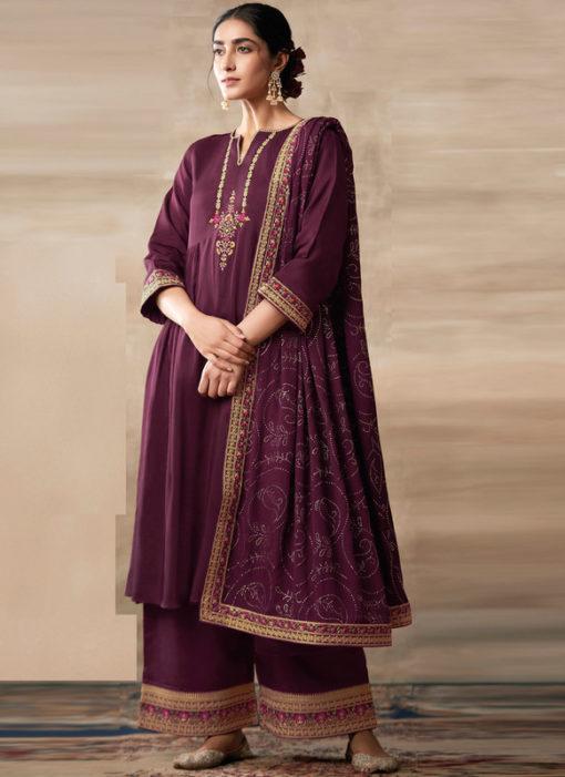 Partywear Designer Embroidery Purple Heavy Chinon Salwar Suit