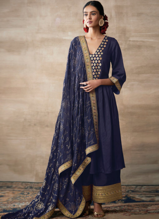 Partywear Designer Embroidery Blue Heavy Chinon Salwar Suit