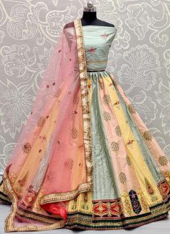 Katiyawadi Embroidery And Mirror Work Designer Wedding Lehenga Choli