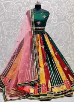 Gujarat Embroidery And Mirror Work Designer Wedding Lehenga Choli