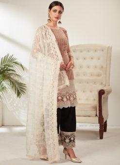 Beige Designer Embroidered Work Party Wear Net Pakistani Suit