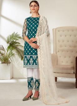 Sea Blue Net Embroidered Work Designer Pakistani Suit