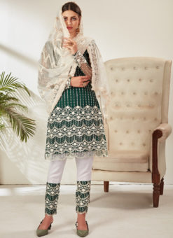 Embroidered Work Designer Green Party Wear Net Pakistani Suit
