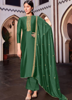 Cotton Silk Green Embroidered Work Designer Party Wear Salwar Kameez