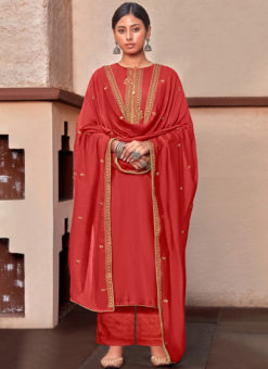 Rust Designer Cotton Silk Embroidered Work Party Wear Salwar Kameez