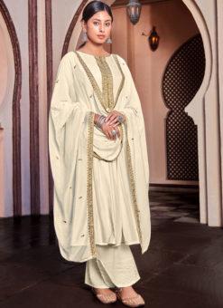 Embroidered Work White Cotton Party Wear Designer Salwar Kameez