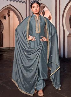 Designer Embroidered Work Cotton Silk Grey Party Wear Salwar Kameez