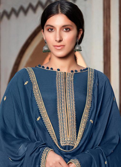 Blue Cotton Silk Designer Embroidered Work Party Wear Salwar Kameez