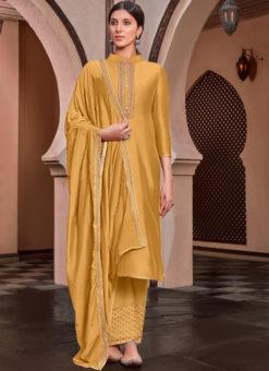 Cotton Silk Embroidered Work Designer Party Wear Yellow Salwar Kameez