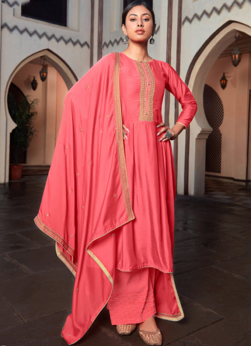 Party Wear Embroidered Work Cotton Silk Designer Pink Salwar Kameez