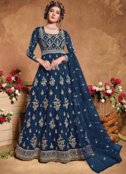 Blue Butterfly Net Designer Embroidered Work Anarkali Suit