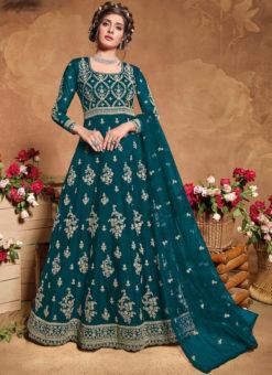 Teal Embroidered Work Designer Butterfly Net Anarkali Suit