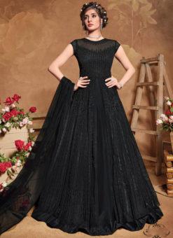 Black Net Embroidered Work Designer Floor Length Anarkali Suit
