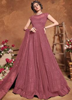 Lavender Floor Length Designer Embroidered work Anarkali Suit