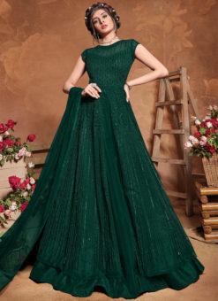 Bottel Green Designer Net Embroidered Work Anarkali Suit