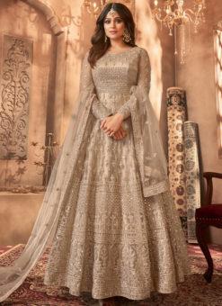 Designer Beige Embroidered Work Party Wear Net Anarkali Salwar Kameez