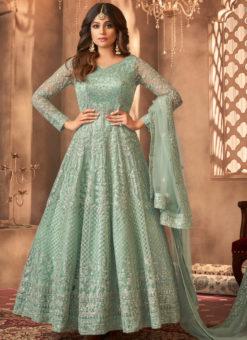 Sea Blue Net Designer Embroidered Work Party Wear Anarkali Salwar Kameez