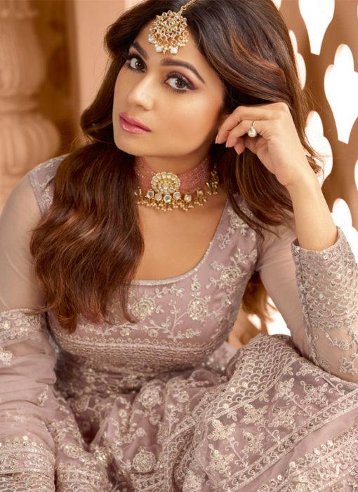 Lavender Embroidered Work Designer Party Wear Net Anarkali Salwar Kameez