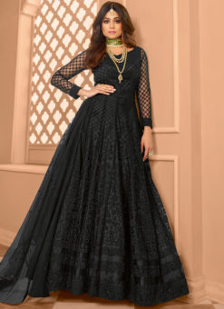 Embroidered Work Designer Net Party Wear Black Anarkali Salwar Kameez