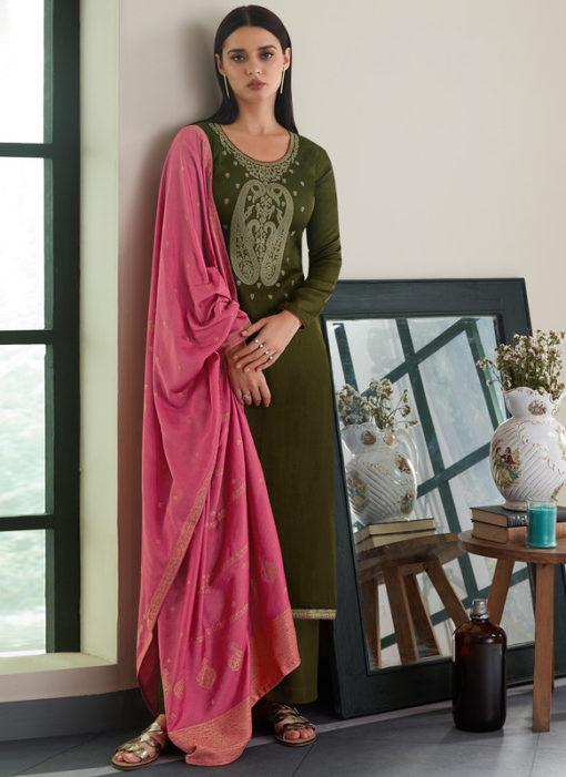 Mehendi Green Silk Designer Embroidered Work With Banarasi Dupatta Salwar Kameez
