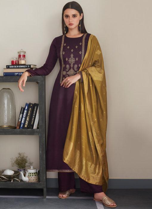 Purple Designer Embroidered Work With Banarasi Dupatta Silk Salwar Kameez
