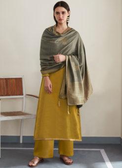 Mustared Embroidered Work Designer With Banarasi Silk Dupatta Salwar Kameez