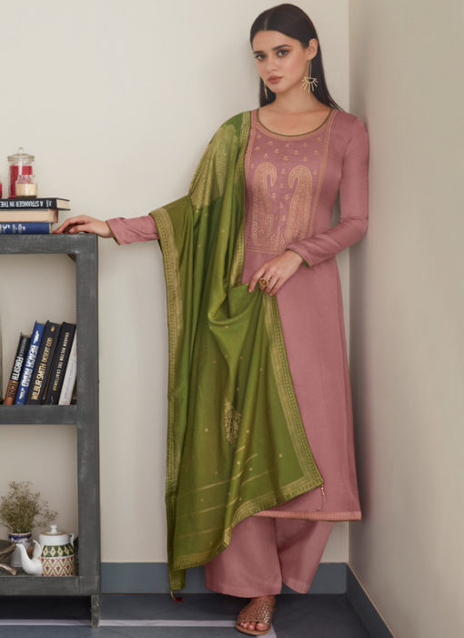 Light Lavender Silk Designer Embroidered Work With Banarasi Silk Dupatta Salwar Kameez