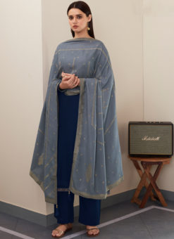 Blue Silk Embroidered Work Designer With Banarasi Dupatta Salwar Kameez