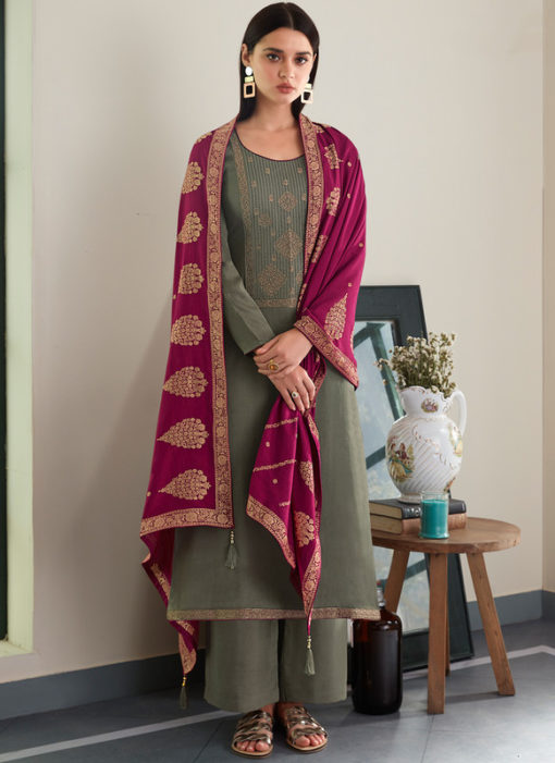 Grenish Designer Embroidered Work With Party Wear Dupatta Salwar Kameez