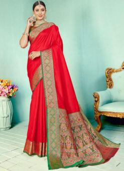 Red Kashmiri Wevon Work Silk Traditional Saree