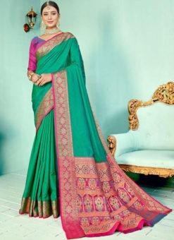 Rama Kashmiri Wevon Work Silk Traditional Saree