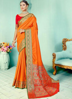Mustard Kashmiri Wevon Work Silk Traditional Saree
