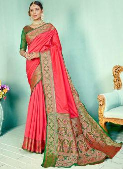 Red Silk Kashmiri Wevon Work Traditional Saree