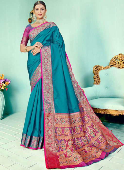 Firozi Kashmiri Wevon Work Silk Traditional Saree