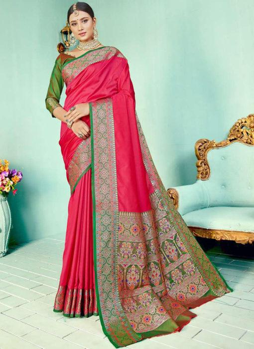 Pink Kashmiri Wevon Work Silk Traditional Saree