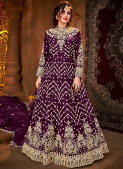 Wine Embroidered Work Designer Net Wedding Anarkali Suit