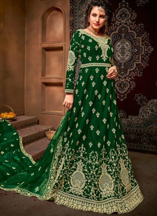 Embroidered Work Designer Green Net Wedding Anarkali Suit