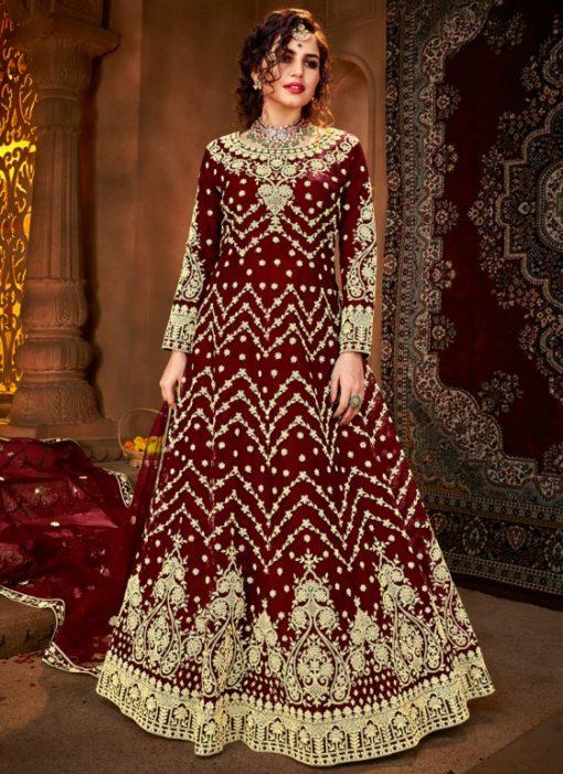 Wedding Maroon Embroidered Work Designer Net Anarkali Suit