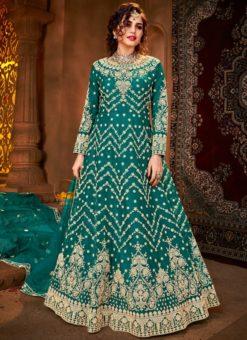 Teal Designer Net Embroidered Work Wedding Anarkali Suit