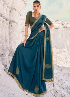 Designer Lace with Siroski Stone Party Wear Vichitra Blue Silk Saree