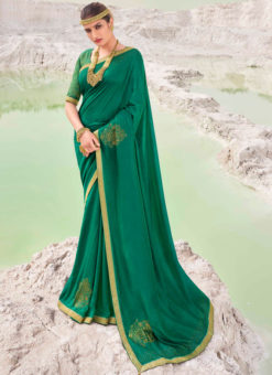 Designer Lace with Siroski Stone Party Wear Vichitra Silk Green Saree