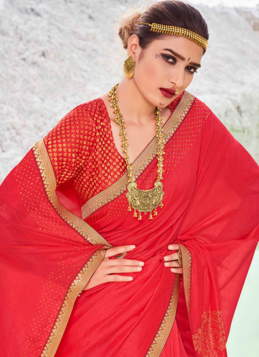 Designer Lace with Siroski Stone Party Wear Vichitra Silk Red Saree