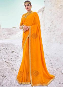 Designer Lace with Siroski Stone Party Wear Vichitra Silk Yellow Saree
