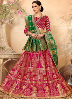 Pink Banarasi Silk Designer Zari Weaving Wedding Lehenga Choli