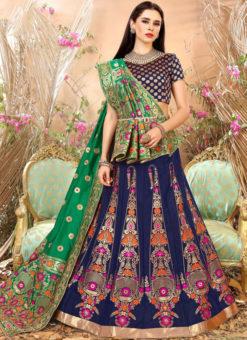 Blue Designer Zari Weaving Banarasi Silk Wedding Lehenga Choli
