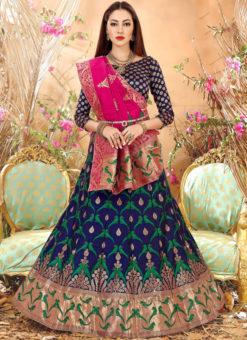 Blue Zari Weaving Designer Banarasi Silk Wedding Lehenga Choli